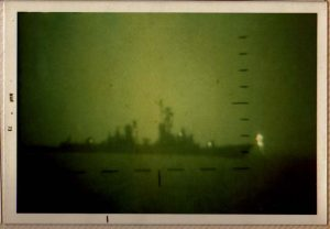 Destroyers on Yankee Station as viewed through Starlight Scope